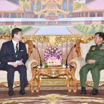 တပ်မတော်ကာကွယ်ရေးဦးစီးချုပ် ဗိုလ်ချုပ်မှူးကြီး မင်းအောင်လှိုင် ဂျပန်နိုင်ငံ၊ နိုင်ငံခြားရေးဝန်ကြီးဌာန၊ ပါလီမန်ဆိုင်ရာဒုတိယဝန်ကြီးအား လက်ခံတွေ့ဆုံ