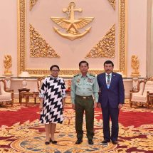 Senior General Min Aung Hlaing receives Indonesian foreign minister