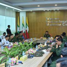 တပ္မေတာ္ကာကြယ္ေရးဦးစီးခ်ဳပ္ ဗုိလ္ခ်ဳပ္မွဴးႀကီး မင္းေအာင္လႈိင္ Telecom International Myanmar Co.,Ltd.(MyTel) ႐ုံးခ်ဳပ္သုိ႔ သြားေရာက္ၾကည့္႐ႈေလ့လာ