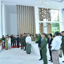 Senior General Min Aung Hlaing visits head office of Telecom International Myanmar Co