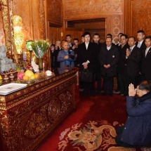 Myanmar Tatmadaw goodwill delegation led by Senior General Min Aung Hlaing pays homage to sacred Buddha tooth relic in Beijing