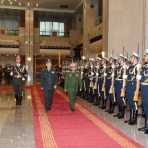 Commander-in-Chief of Defence Services Senior General Min Aung Hlaing accorded a guard-of-honour welcome by member of Central Military Commission of China and Chief of the Joint Staff Department of People's Liberation Army Gen. Li Zuocheng