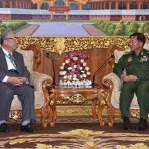 Senior General Min Aung Hlaing receives former member of House of Councillors of Japan and Chairman of Japan-Myanmar Friendship Association