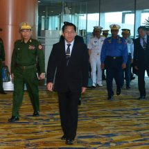 Myanmar Tatmadaw goodwill delegation led by Senior General Min Aung Hlaing arrives back after attending Defence & Security 2017 for ASEAN countries