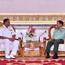 တပ်မတော်ကာကွယ်ရေးဦးစီးချုပ် ဗိုလ်ချုပ်မှူးကြီး မင်းအောင်လှိုင် အိန္ဒိယ ရေတပ်မှ Vice Admiral Bimal K Verma, AVSM ဦးဆောင်သည့် ကိုယ်စားလှယ်အဖွဲ့အား လက်ခံတွေ့ဆုံ