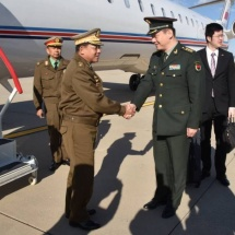 Myanmar Tatmadaw goodwill delegation led by Senior General Min Aung Hlaing arrives in Beijing, meets families of embassy, office of military attaché