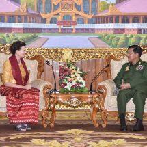တပ်မတော်ကာကွယ်ရေးဦးစီးချုပ် ဗိုလ်ချုပ်မှူးကြီး မင်းအောင်လှိုင် မြန်မာနိုင်ငံဆိုင်ရာ ကုလသမဂ္ဂဌာနေ ညှိနှိုင်းရေးမှူး Ms. Renata Dessallien အားလက်ခံတွေ့ဆုံ