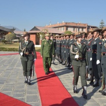 Gen. Ranjendra Chhetri, Chief of Armed Forces, Staff of the Nepalese Armed Forces, welcomes Senior General Min Aung Hlaing with Guard of Honour, holds talks