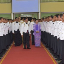 Senior General Min Aung Hlaing attends graduation dinner of No 4 Intake of Graduate Female Cadets of Defence Services (Army) Officers Training School (Hmawby)