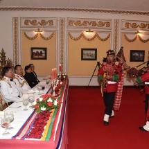 တပ်မတော်ကာကွယ်ရေးဦးစီးချုပ် ဗိုလ်ချုပ်မှူးကြီးမင်းအောင်လှိုင် ဦးဆောင်သည့် မြန်မာ့တပ်မတော်ချစ်ကြည်ရေးကိုယ်စားလှယ်အဖွဲ့နီပေါတပ်မတော်ကြည်းတပ် ဦးစီးချုပ် Gen. Ranjendra Chhetri က တည်ခင်းဧည့်ခံသည့် ဂုဏ်ပြုညစာ စားပွဲ အခမ်းအနားသို့တက်ရောက်
