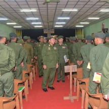 Undergo training to become healthy, fit and skilful to enhance ability; achieve battle victory through tough training and courage; Tatmadaw must win public reliance and must be indivisible with people