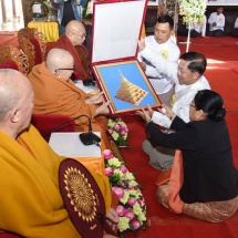 Ceremony to mark successful completion of offering gold foils, consecration held at ancient historical Swamkham (Swamtawng) Pagoda in Kengtung