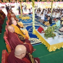 Ceremony to enshrine religious objects into reliquaries of Abhayarazamuni Buddha Image near Pankwe Village, Kengtung, and consecrate the pagoda takes place