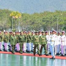 တပ်မတော်ကာကွယ်ရေးဦးစီးချုပ် ဗိုလ်ချုပ်မှူးကြီးမင်းအောင်လှိုင် ရုရှားဖက်ဒရေးရှင်းနိုင်ငံ၊ ကာကွယ်ရေးဝန်ကြီး Army General Sergey K. SHOIGU အား ဂုဏ်ပြုတပ်ဖွဲ့ဖြင့် ကြိုဆို၊ တွေ့ဆုံဆွေးနွေး