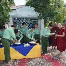 Merits shared for eastern archway and 218 sections of walls collectively donated by Defence Services (Army, Navy and Air) and well-wishers at Maha Wizitayon Pariyatti Monastery in Mandalay