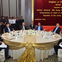 Senior General Min Aung Hlaing hosts a dinner in honour of Chief of Defence Force of the Royal Thai Armed Forces Gen. Tarnchaiyan Srisuwan
