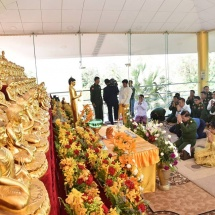 Senior General Min Aung Hlaing pays homage to Sayadaws attending 20th All Buddha Sasana Shwegyin Nikaya Sangha Meeting, offers meals, attends closing of the meeting