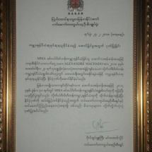 Defence Services Commander-in-Chief's certificate of honour and honorary award presented to double world champion Aung La N Sang