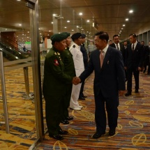 Senior General Min Aung Hlaing leaves for Singapore to attend Singapore Airshow 2018