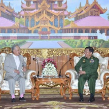 Senior General Min Aung Hlaing meets Special Envoy of Government of Japan for National Reconciliation in the Republic of the Union of Myanmar and Chairman of Nippon Foundation