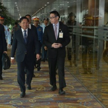 Commander-in-Chief of Defence Services Senior General Min Aung Hlaing arrives back from Singapore