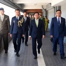 Myanmar Tatmadaw delegation led by Senior General Min Aung Hlaing arrives back from Singapore