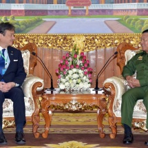 Senior General Min Aung Hlaing receives Parliamentary Vice-Minister for Foreign Affairs H.E. Mr. Iwao HORII of Japan