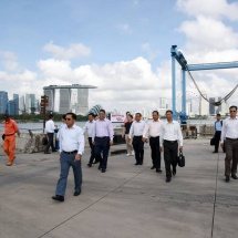 Senior General Min Aung Hlaing and Myanmar Tatmadaw delegation visit Marina Barrage in Singapore