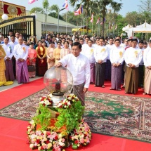 Successful ceremony marks inauguration and sharing of merits for Thiri Mingala Maha Sasana Beikman collectively built by families of Tatmadaw (Army, Navy and Air), well-wishers in precinct of Lawka Chantha Abhaya Labha Muni Buddha Image in Insein Township