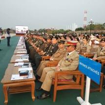 (၇၃)နှစ်မြောက် တပ်မတော်နေ့ စစ်ရေးပြအခမ်းအနားသို့ တက်ရောက်လာကြသော တပ်မတော်အရာရှိကြီးများ၊ နိုင်ငံခြားစစ်သံမှူးများနှင့် ဧည့်သည်တော်များ