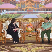 Senior General Min Aung Hlaing receives delegation led by Chief Executive Officer of The Carter Center Retired Ambassador Mrs. Mary Ann Peters
