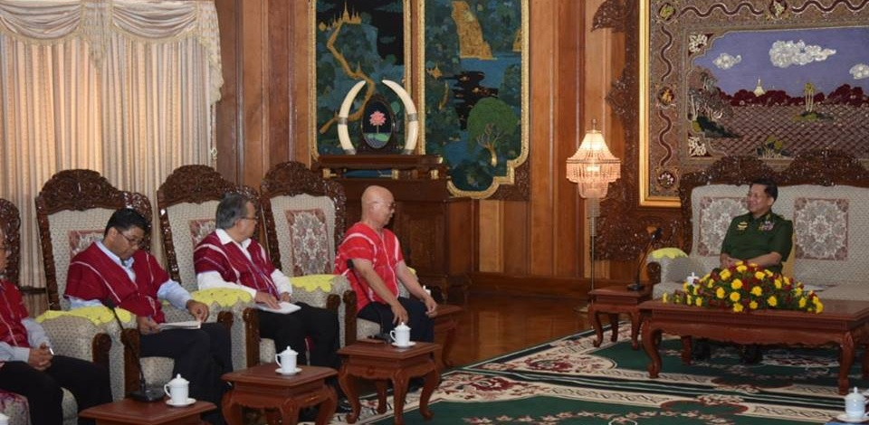 Senior General Min Aung Hlaing holds talks with a team led by Karen National Union (KNU) Chairman Saw Mutu Sae Poe