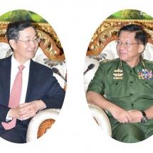 တပ်မတော်ကာကွယ်ရေးဦးစီးချုပ် ဗိုလ်ချုပ်မှူးကြီး မင်းအောင်လှိုင် တရုတ်ပြည်သူ့သမ္မတနိုင်ငံ၊ နိုင်ငံခြားရေး ဝန်ကြီးဌာန၊ အာရှရေးရာအထူးကိုယ်စားလှယ် H.E. Mr. Sun Guoxiang အား လက်ခံတွေ့ဆုံ