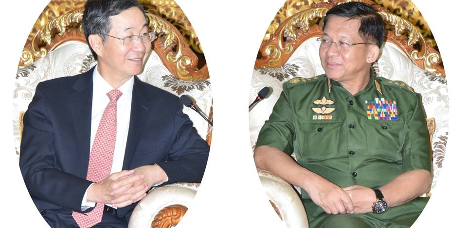 တပ္မေတာ္ကာကြယ္ေရးဦးစီးခ်ဳပ္ ဗိုလ္ခ်ဳပ္မွဴးႀကီး မင္းေအာင္လႈိင္ တ႐ုတ္ျပည္သူ႕သမၼတႏုိင္ငံ၊ ႏုိင္ငံျခားေရး ၀န္ႀကီးဌာန၊ အာရွေရးရာအထူးကုိယ္စားလွယ္ H.E. Mr. Sun Guoxiang အား လက္ခံေတြ႕ဆုံ