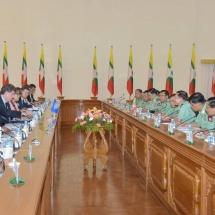 တပ်မတော်ကာကွယ်ရေးဦးစီးချုပ် ဗိုလ်ချုပ်မှူးကြီး မင်းအောင်လှိုင် ကုလသမဂ္ဂလုံခြုံရေးကောင်စီအမြဲတမ်း ကိုယ်စားလှယ်အဖွဲ့ဝင်များနှင့်တွေ့ဆုံဆွေးနွေးမှုများ အပိုင်း (၁)