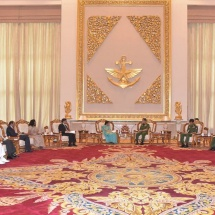 Senior General Min Aung Hlaing receives Minister of External Affairs of India H.E. Smt. Sushma Swaraj