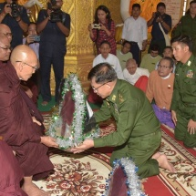 Senior General Min Aung Hlaing inspects Kyaikthalan Pagoda in Mawlamyine, Mon State, damaged by downpours and visits flood victims in Mawlamyine and Ye