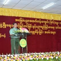 တပ်မတော်ကာကွယ်ရေးဦးစီးချုပ် ဗိုလ်ချုပ်မှူးကြီး မင်းအောင်လှိုင် မြန်မာ့သားကောင်းစစ်မှု ထမ်းဟောင်းအိမ်ရာ (လေးထောင့်ကန်)အနီးရှိ အခြေခံပညာအထက်တန်းကျောင်း၊ ဇာတိမာန်ခန်းမ၌ ပြုလုပ်သည့် အမှတ်(၁)စိုက်ပျိုး မွေးမြူရေးရပ်ကွက် ကျောင်းဖွံ့ဖြိုးရေး အဆင့်မြှင့်တင်ခြင်းနှင့် ပညာရည်မြင့်မားရေးသင်ထောက်ကူပစ္စည်းများပေးအပ် လှူဒါန်းခြင်း အခမ်းအနားသို့ တက်ရောက်