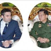 တပ်မတော်ကာကွယ်ရေးဦးစီးချုပ် ဗိုလ်ချုပ်မှူးကြီး မင်းအောင်လှိုင် မြန်မာနိုင်ငံဆိုင်ရာ ဗြိတိန်နိုင်ငံသံ အမတ်ကြီးH. E. Mr. Daniel Patrick Chugg အားလက်ခံတွေ့ဆုံ