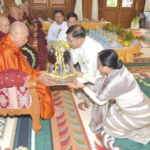 Families of the Office of Commander-in-Chief (Army, Navy and Air) hold Waso robe offering ceremony for 2018