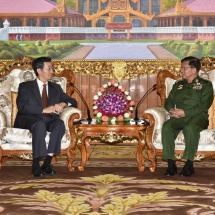 Senior General Min Aung Hlaing receives Special Envoy H.E. Mr. Sun Gouxiang of Asian Affairs of Ministry of Foreign Affairs of the People's Republic of China
