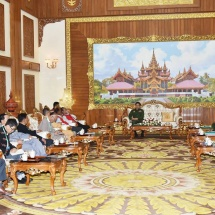 Senior General Min Aung Hlaing receives delegates of ethnic armed groups who attended the Union Peace Conference- 21st Century Panglong (third meeting)