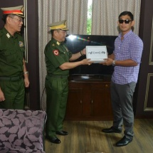 Certificate of honour, cash award of the Commander-in-Chief of Defence Services presented to Myanmar national Kachin ethnic Aung La N Sang for winning over challenger Japanese Hasegawa