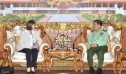 Senior General Min Aung Hlaing receives German Ambassador to Myanmar H.E. Mrs.Dorothee Janetzke-Wenzel