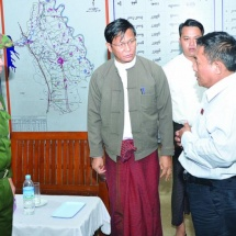 Vice-President U Henry Van Thio, Commander-in-Chief of Defence Services Senior General Min Aung Hlaing inspect damaged dam, flooding in Yedashe Township