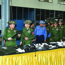 Senior General Min Aung Hlaing meets officers, other ranks and families of Pyay Station