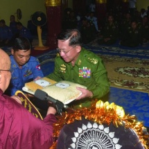 Families of Tatmadaw (Army, Navy and Air), well-wishers donate rice, edible oil, salt, gram, medicines and cash for nine prerequisites to Pariyatti monasteries, nunneries, home for the aged in Lewe Township, Nay Pyi Taw