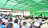 Senior General Min Aung Hlaing meets potato farmers at Bawnin village-tract in Heho town, Kalaw Township