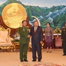 Senior General Min Aung Hlaing calls on Laotian President H.E. Mr. Bounnhang VORACHITH
