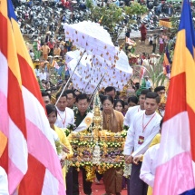 SHWEHTIDAW HOISTING AND CONSECRATION CEREMONIES OF THE THABYENYINAUNG AUNG ZEYA MUNI PAGODA HELD